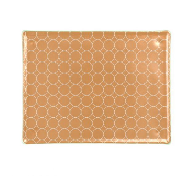 Rectangular Gold Glass Cheese Platter Designed by Anna Vasily - Top View