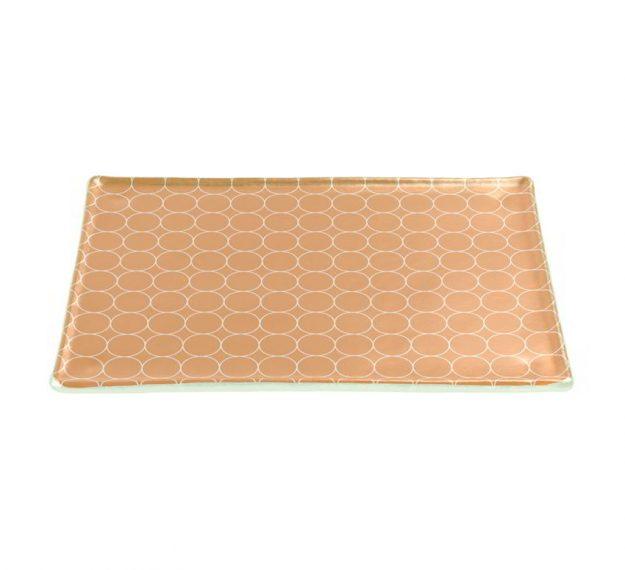Rectangular Gold Glass Cheese Platter Designed by Anna Vasily - 3/4 View