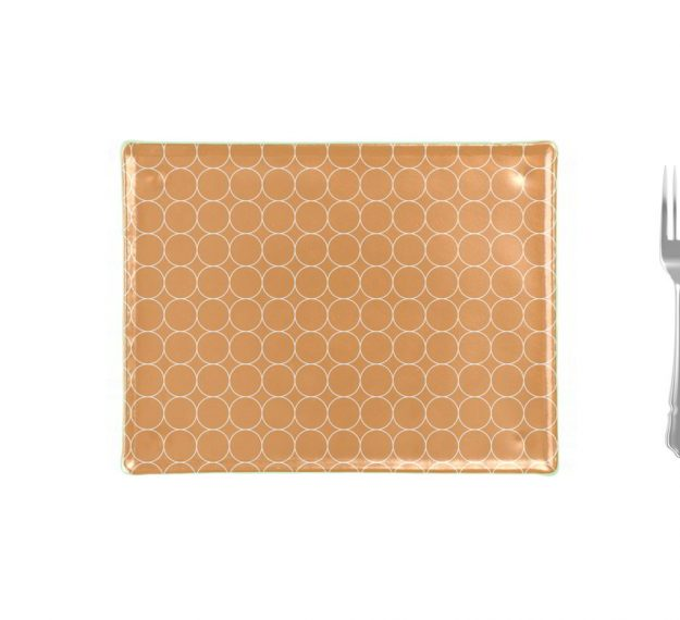 Rectangular Gold Glass Cheese Platter Designed by Anna Vasily - Measure View