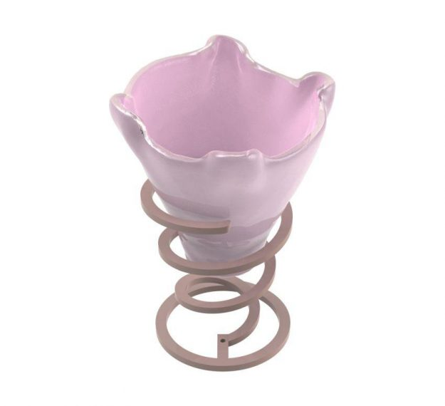 Pink ice cream bowl on a base