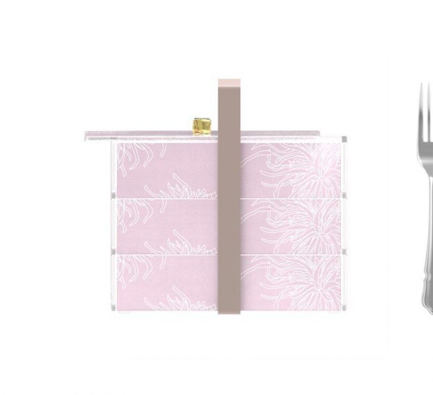 Stylish Pink Bento Box With 3 Compartments Designed by Anna Vasily - Measure View