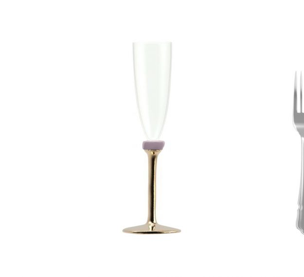Gold Champagne Glasses With Bronze Stem Designed by Anna Vasily - Measure View