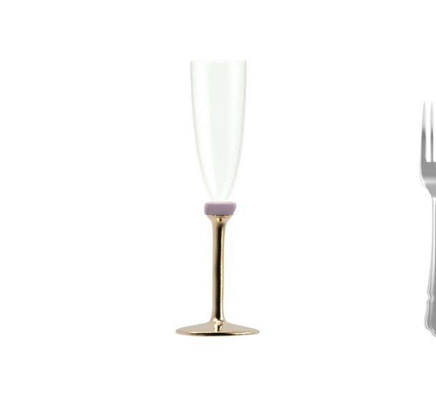 Bronze champagne glass on stem