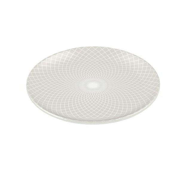 Metallic White Dinner Plate Set with a Pattern Designed by Anna Vasily - 3/4 View