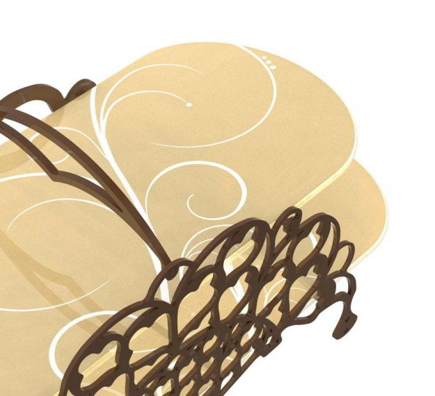 2 Tier Cake Stand With Delicate Metalwork Designed by Anna Vasily - Detail View