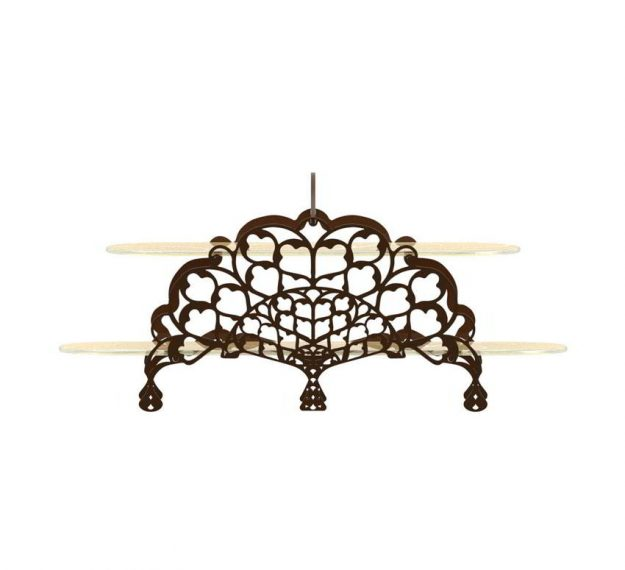2 Tier Cake Stand With Delicate Metalwork Designed by Anna Vasily - Side View