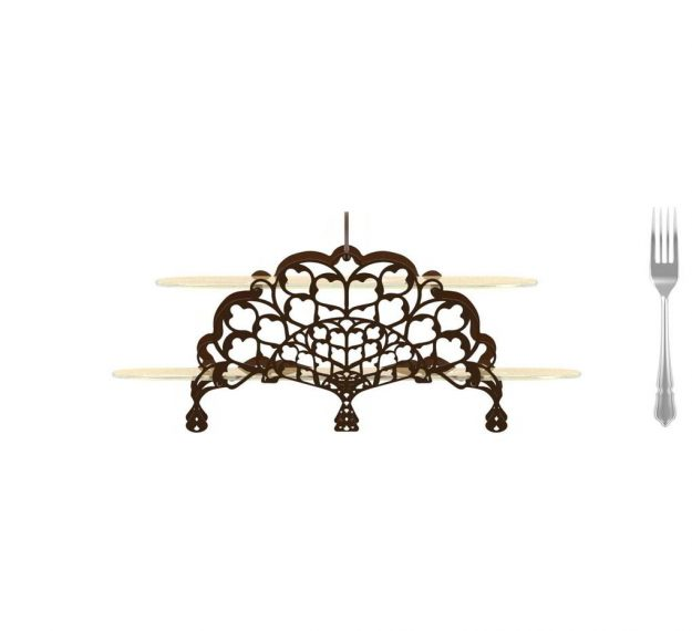 AnnaVasily- Klau is a champagne coloured high tea stand with a lace metal design in two levels, adorned with the Vivace pattern.