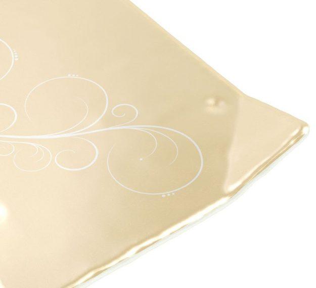Metallic Beige Floral Dessert Plates Designed by Anna Vasily - Detail View