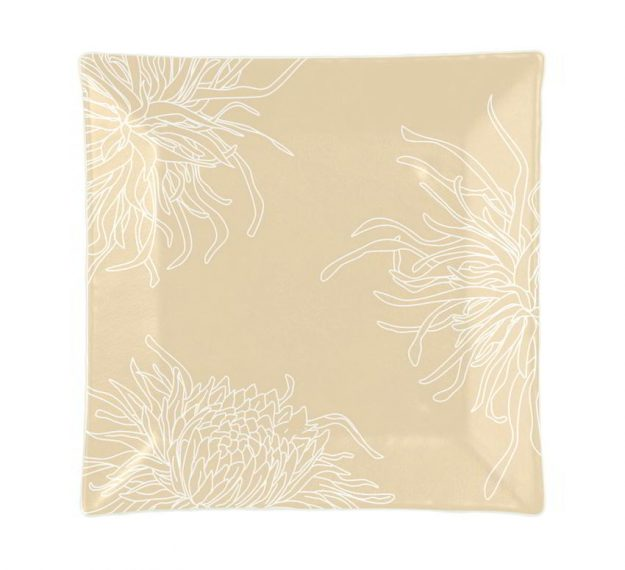 Floral Dinner Plates in Metallic Beige Designed by Anna Vasily - Top View