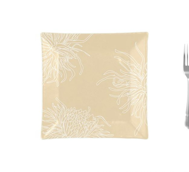 Floral Dinner Plates in Metallic Beige Designed by Anna Vasily - Measure View
