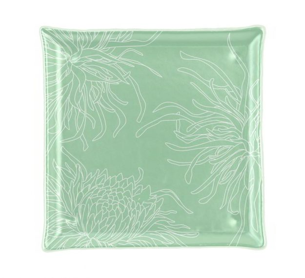 Square Tapas Plates with Floral Motifs Designed by Anna Vasily - Top View