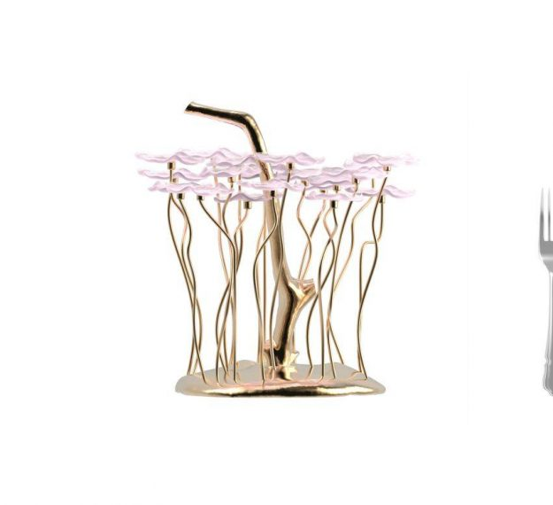 AnnaVasily- Magi is our soft shell pink high tea stand with 20 removable flower shaped mini glass plates. The base is of hand cast bronze.