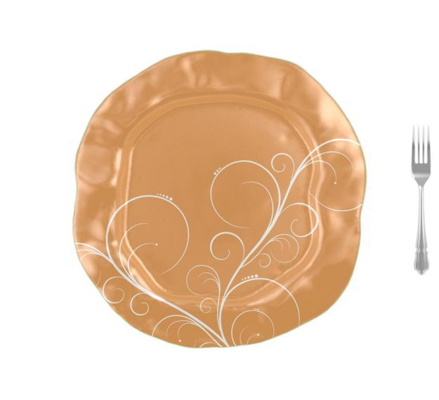 Matte Gold Serving Platter Designed by Anna Vasily - Measure View