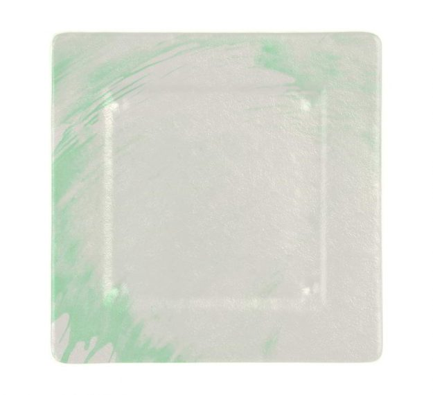 Square Charger Plates in White and Green Designed by Anna Vasily - Top View