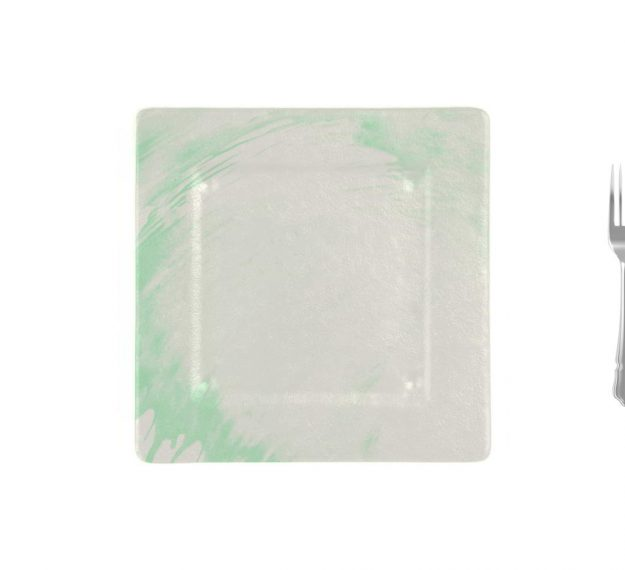 Square Charger Plates in White and Green Designed by Anna Vasily - Measure View