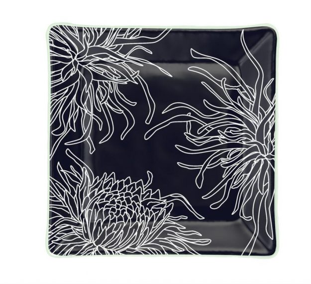Navy Blue Square Side Plates, Floral Tones by Anna Vasily - Top View