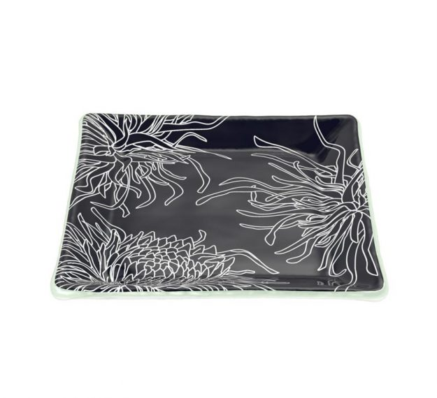 Navy Blue Square Side Plates, Floral Tones by Anna Vasily - 3/4 View