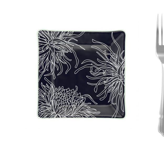 Navy Blue Square Side Plates, Floral Tones by Anna Vasily - Measure View