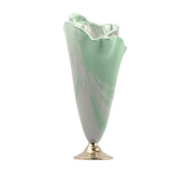 Flower vase on bronze base