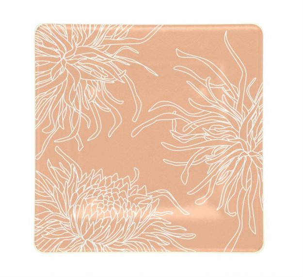 Rose Coloured Square Side Plates Designed with Style by Anna Vasily - Top View