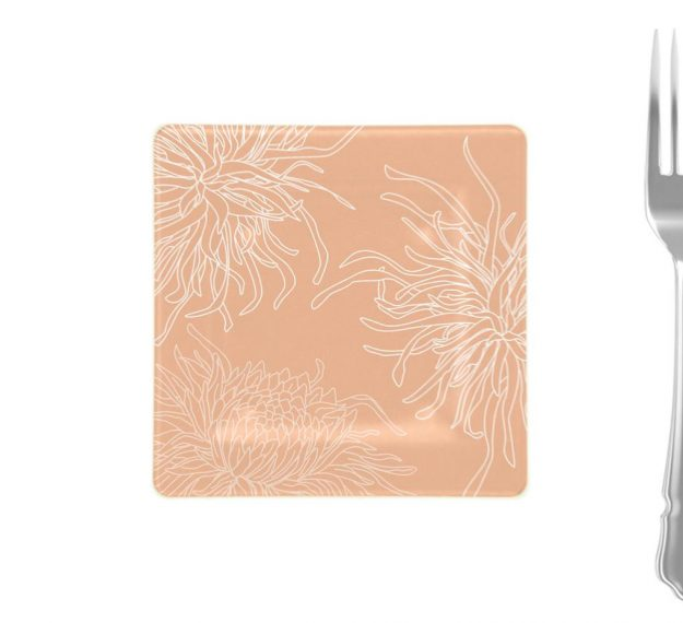 Rose Coloured Square Side Plates Designed with Style by Anna Vasily - Measure View