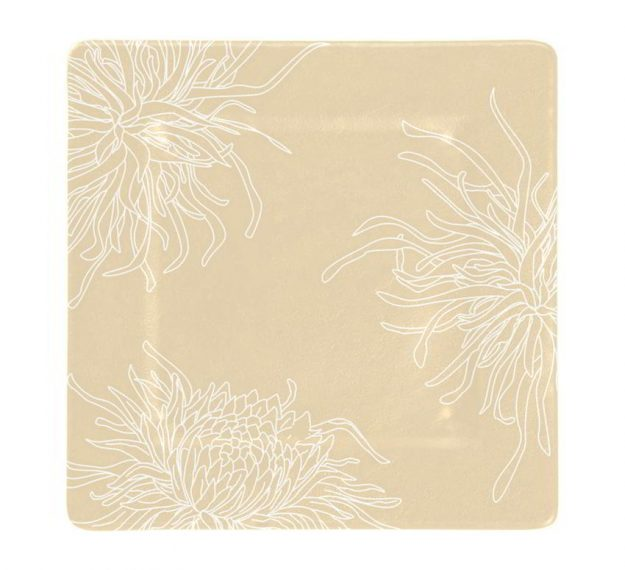 Floral Charger Plates in Cream-Beige Designed by Anna Vasily - Top View