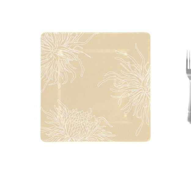 Floral Charger Plates in Cream-Beige Designed by Anna Vasily - Measure View