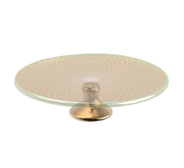Small Gold Cake Stand with Brass Pedestal Designed by Anna Vasily - 3/4 View