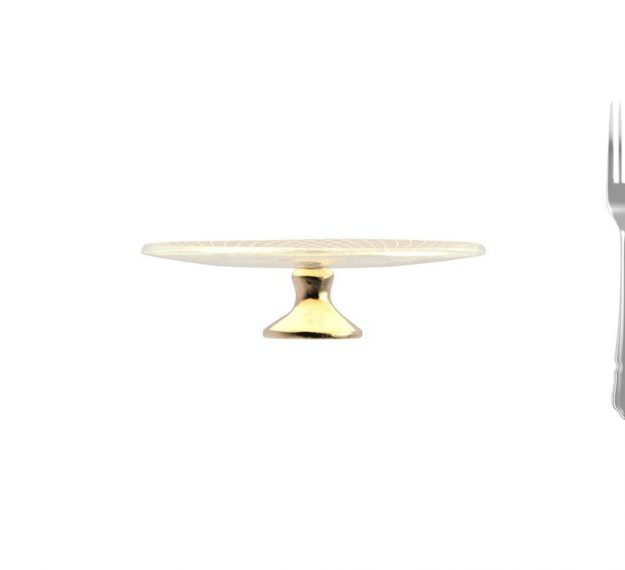 Small Gold Cake Stand with Brass Pedestal Designed by Anna Vasily - Measure View