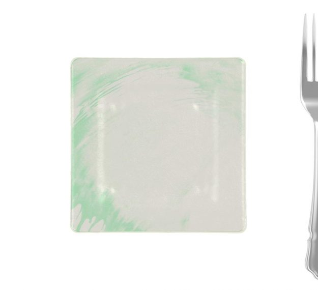 Green-white square side plate