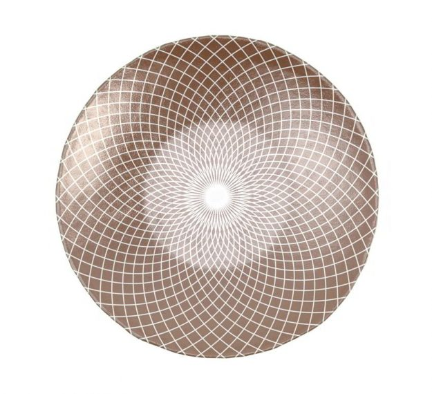 Brown Shallow Unique Salad Bowl with Pattern Designed by Anna Vasily - Top View