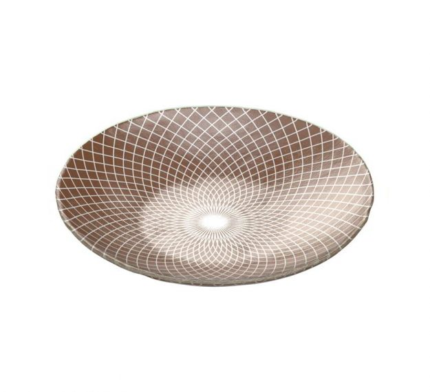 Brown Shallow Unique Salad Bowl with Pattern Designed by Anna Vasily - 3/4 View
