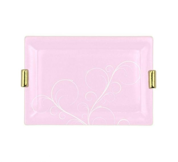 Pink Charger Plates with Shiny Brass Handles Designed by Anna Vasily - Top View