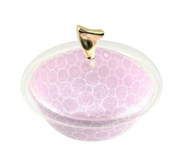Patterned Pink Candy Box with Lid Designed by Anna Vasily - 3/4 View