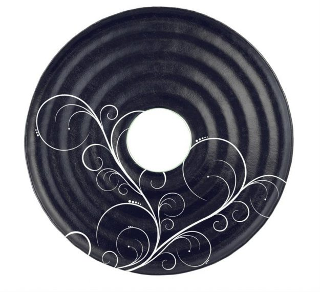 Designer Navy Blue Platter with Insert for Dip Bowl by Anna Vasily - Top View
