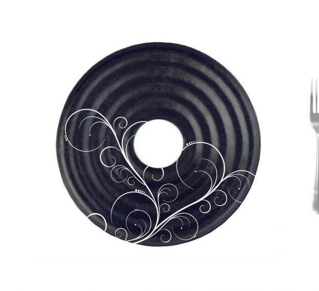 AnnaVasily- Selen is a round blue platter with a hole in the centre, in deep night blue colour with our Vivace pattern.