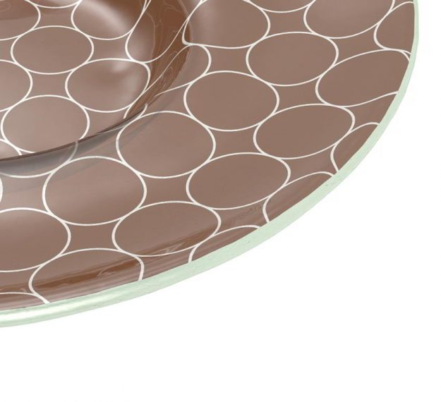 Wide Rim Dessert Bowl With A Retro Pattern by Anna Vasily - Detail View