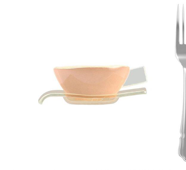 Cameo rose tea cup and saucer