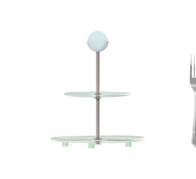 AnnaVasily- Sym is a two-tier blue high tea stand with a handle. Its tiers are in light dawn blue and our Vivace pattern.