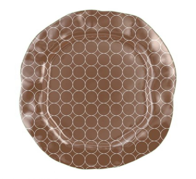 Organic Decorative Brown Glass Platter Designed by Anna Vasily - Top View