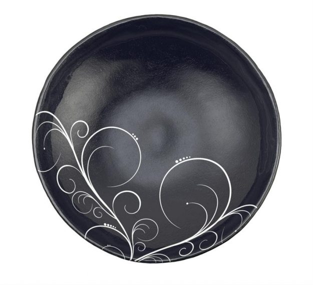 Navy Blue Round Salad Bowl with Floral Pattern by Anna Vasily - Top View