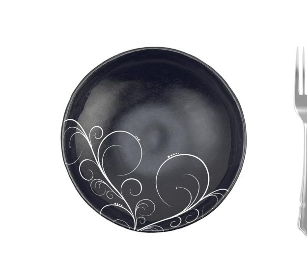 Navy Blue Round Salad Bowl with Floral Pattern by Anna Vasily - Measure View