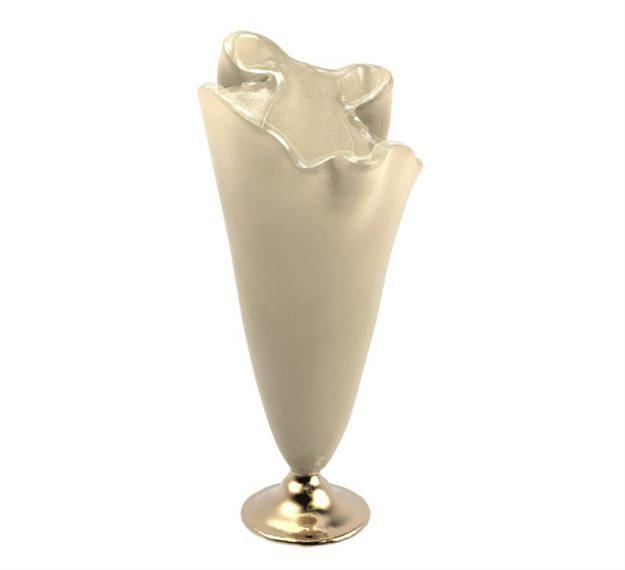 Glass vase on bronze base