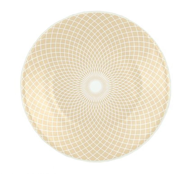 Beige Patterned Small Side Plates Designed by Anna Vasily - Top View