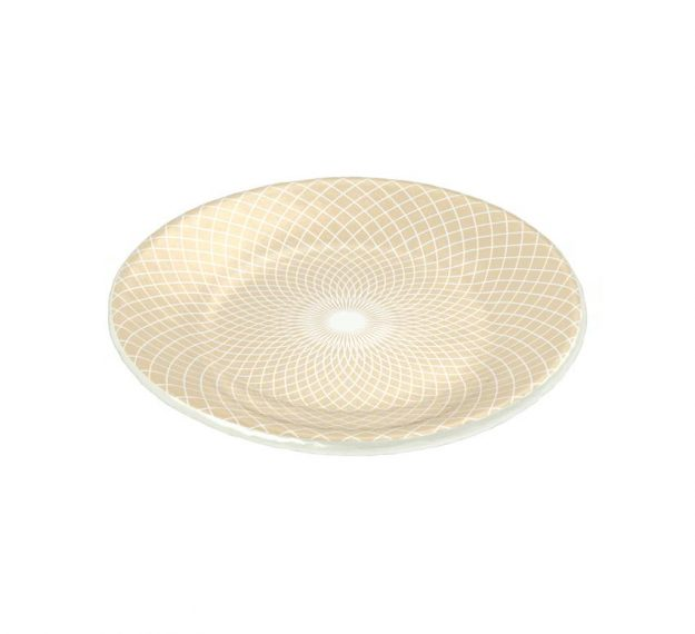 Beige Patterned Small Side Plates Designed by Anna Vasily - 3/4 View
