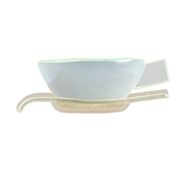 Elegant Handcrafted Light Blue Tea Cups Designed by Anna Vasily - Side View