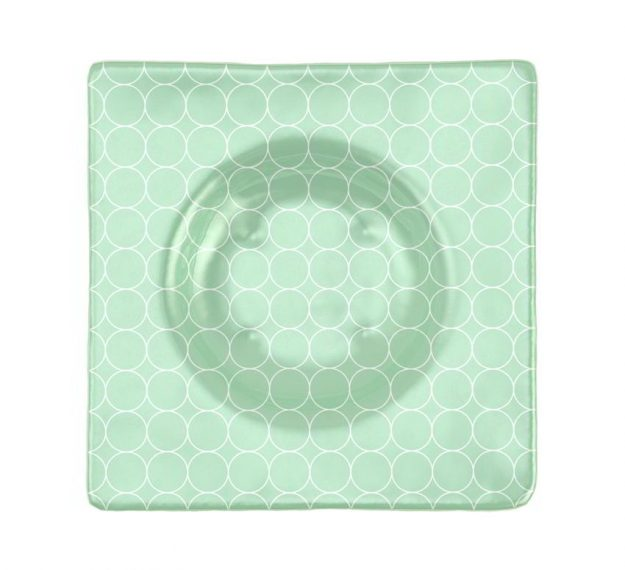 Square Green Salad Bowl Guaranteed to Stun, Designed by Anna Vasily - Top View