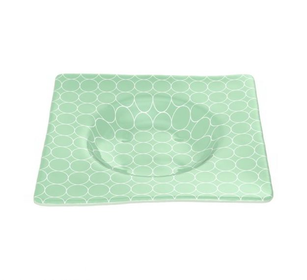 Square Green Salad Bowl Guaranteed to Stun, Designed by Anna Vasily - 3/4 View