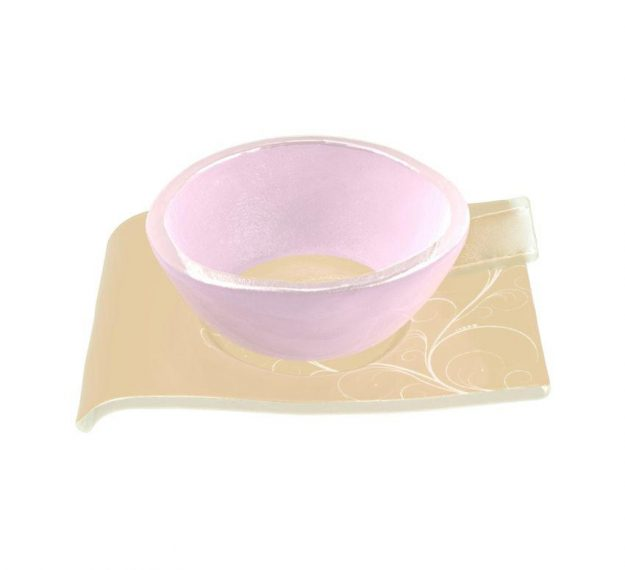 Handcrafted Modern Pink Tea Cups and Saucers Designed by Anna Vasily - 3/4 View