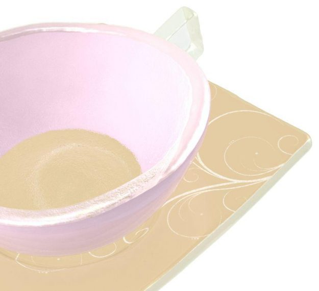 Handcrafted Modern Pink Tea Cups and Saucers Designed by Anna Vasily - Detail View